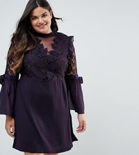 Truly You Premium Lace Mini Dress With Bow Sleeve Detail Plum Purple