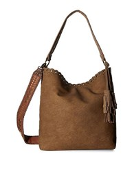 Steve Madden Embroidered Strap Hobo Bag Tan