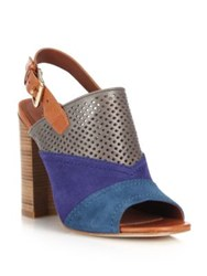 Cole Haan Tabby Perforated Leather And Suede Slingback Sandals Multi