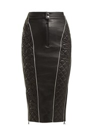 Marine Serre Quilted Leather Pencil Skirt Black