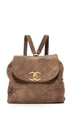 Wgaca Chanel Suede Backpack Previously Owned Brown