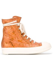 Rick Owens Drkshdw Zip Fastening High Top Sneakers Yellow And Orange