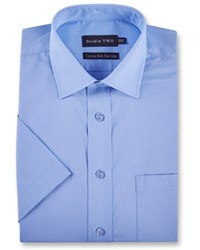 Double Two Men's Plain Short Sleeved Non Iron Shirt Blue