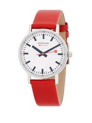 Mondaine Stainless Steel Strap Watch Red