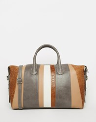 Urbancode Striped Leather Tote Bag Brown Grey Natural