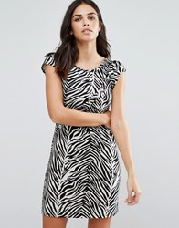 Jasmine Animal Print Shift Dress Black White