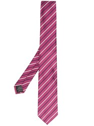 Z Zegna Striped Printed Tie Pink