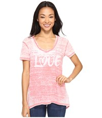 Allen Allen Love Print High Low Tee Begonia Women's T Shirt Pink