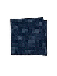 Hickey Freeman Printed Dot Cotton Handkerchief Teal