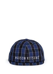 Maison Kitsune Grid Check Small Visor Cap Blue