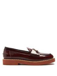 Miu Miu Coin Embellished Leather Penny Loafers Red