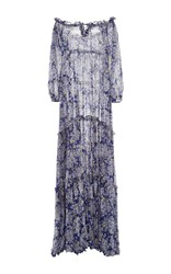 Luisa Beccaria Off The Shoulder Floral Printed Dress Blue