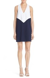 Women's Alice Olivia 'Maya' Colorblock Trapeze Dress White Navy