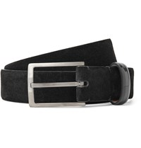 Lanvin 3Cm Black Suede And Patent Leather Belt Black
