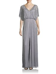 Aidan Mattox Bridesmaids Embellished Front Slit Gown Silver Grey