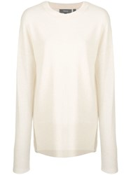 Theory Round Neck Knitted Jumper Neutrals