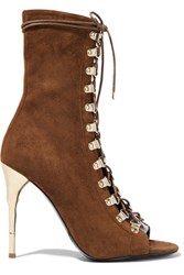 Balmain Lace Up Suede Boots Chocolate
