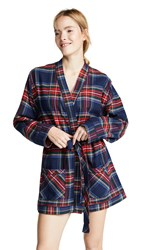 Plush Ultra Soft Flannel Robe Navy Red Plaid