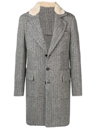 Ermanno Scervino Herringbone Single Breasted Coat Grey