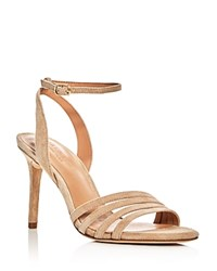 Halston Heritage Kelly Ankle Strap High Heel Sandals Sand Gold