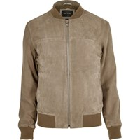 River Island Mens Light Grey Suede Bomber Jacket