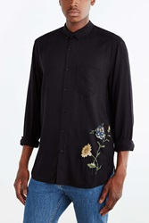 Your Neighbors Printed Floral Button Down Shirt Black