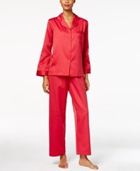Miss Elaine Jacquard Dot Brushed Back Satin Pajama Set Red