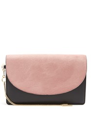 Diane Von Furstenberg Saddle Bi Colour Leather And Calf Hair Clutch Black Pink