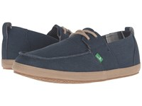 Sanuk Admiral Navy Tan Men's Slip On Shoes Blue