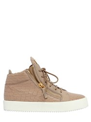 Giuseppe Zanotti 20Mm Embossed Leather Mid Top Sneakers