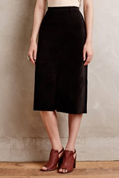 Alexa Chung For Ag Ortiz Suede Midi Skirt Black