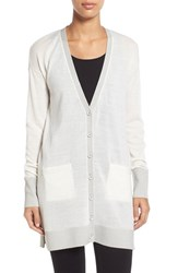 Petite Women's Halogen Side Zip Long V Neck Cardigan Ivory Lurex