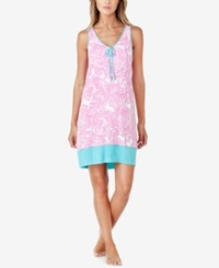 Ellen Tracy Racerback Printed Knit Nightgown Pink White Print