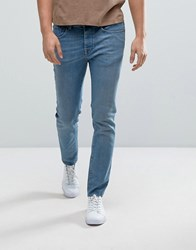Selected Homme Jeans In Skinny Fit With Raw Hem Light Blue Denim