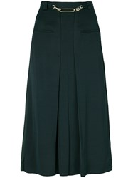 Carven Pleated High Waisted Skirt Green