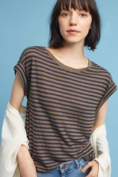 Anthropologie French Striped Tee Green