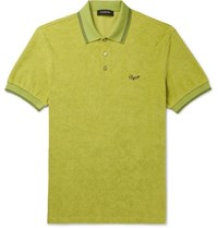 Ermenegildo Zegna Contrast Tipped Logo Embroidered Cotton Terry Polo Shirt Green