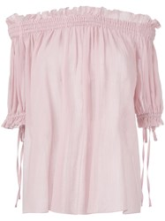 Alexander Mcqueen Off The Shoulder Smocked Blouse Pink Purple