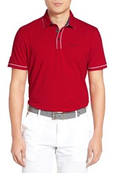 Ted Baker Men's London Playgo Piped Trim Golf Polo Red