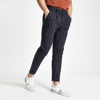 River Island Navy Stripe Tapered Trousers