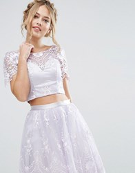Chi Chi London Sweetheart Crop Top In Scallop Lace Lilac Grey Purple
