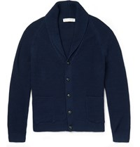 Gieves And Hawkes Shawl Collar Waffle Knit Cardigan Navy