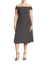 Abs Plus Size Pinstripe Off The Shoulder Dress Black