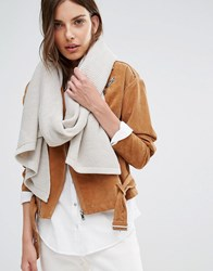 Pieces Ribbed Oversized Blanket Scarf Moonbeam Grey