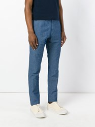 Lardini Drawstring Denim Trousers Men Cotton Linen Flax 48 Blue