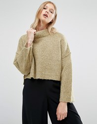 Native Youth High Neck Boxy Jumper Light Olive Green
