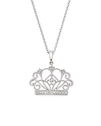 Bloomingdale's Diamond Crown Pendant Necklace In 14K White Gold .10 Ct. T.W.