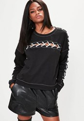 Missguided Black Cross Lace Detail Sweatshirt