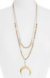 Karine Sultan Women's Multistrand Pandant Necklace Gold Silver Mix