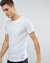 Solid Stripe T Shirt With Printed Pocket In White